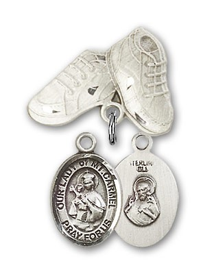 Baby Badge with Our Lady of Mount Carmel Charm and Baby Boots Pin - Silver tone