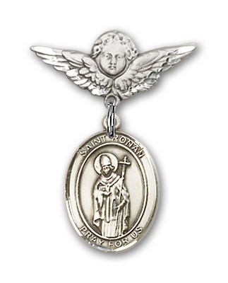 Pin Badge with St. Ronan Charm and Angel with Smaller Wings Badge Pin - Silver tone