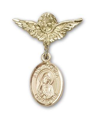 Pin Badge with St. Monica Charm and Angel with Smaller Wings Badge Pin - 14K Solid Gold