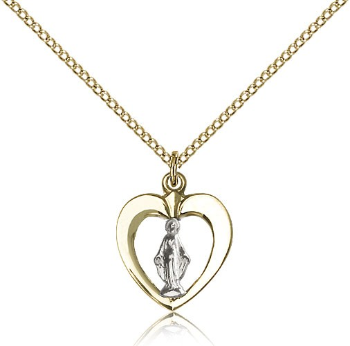 Two-Tone Open-Cut Heart Miraculous Medal Necklace - Two-Tone Silver