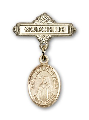 Pin Badge with St. Teresa of Avila Charm and Godchild Badge Pin - Gold Tone
