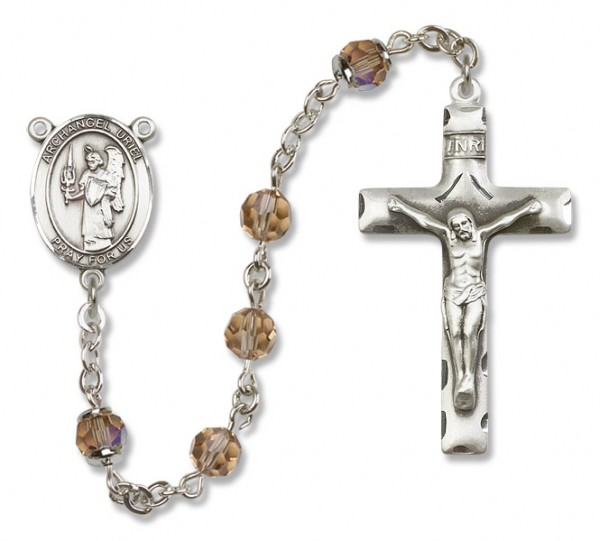 St. Uriel Sterling Silver Heirloom Rosary Squared Crucifix - Topaz