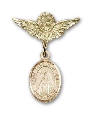 Pin Badge with St. Teresa of Avila Charm and Angel with Smaller Wings Badge Pin - 14K Yellow Gold