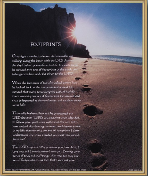 Footprints Gold Framed Print - Full Color