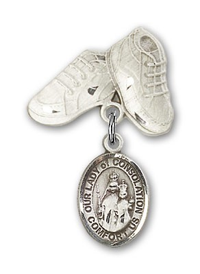 Baby Badge with Our Lady of Consolation Charm and Baby Boots Pin - Silver tone