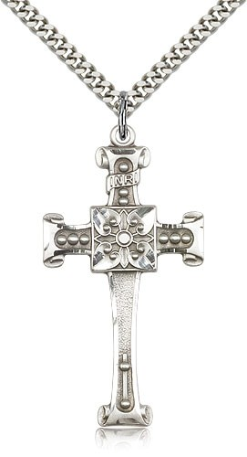 Scrolled Cross Pendant - Sterling Silver