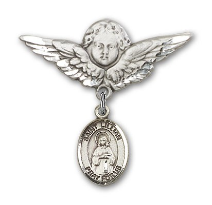 Pin Badge with St. Lillian Charm and Angel with Larger Wings Badge Pin - Silver tone