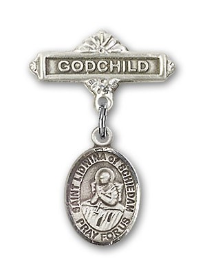 Pin Badge with St. Lidwina of Schiedam Charm and Godchild Badge Pin - Silver tone