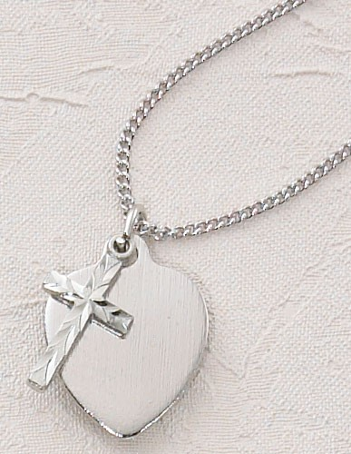 Silver Heart and Cross First Communion Necklace  - Silver