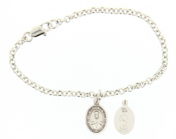 Silver Plated Rolo Bracelet with Scapular Medal - Sterling Silver