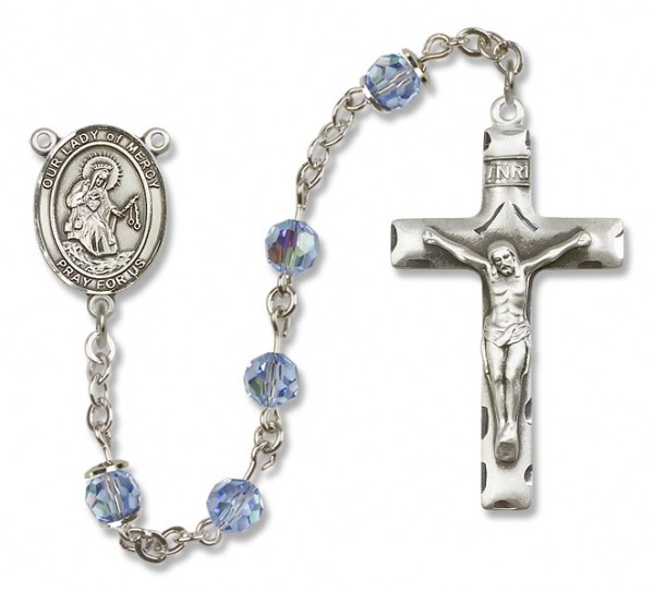 Our Lady of Mercy Rosary Heirloom Squared Crucifix - Light Sapphire