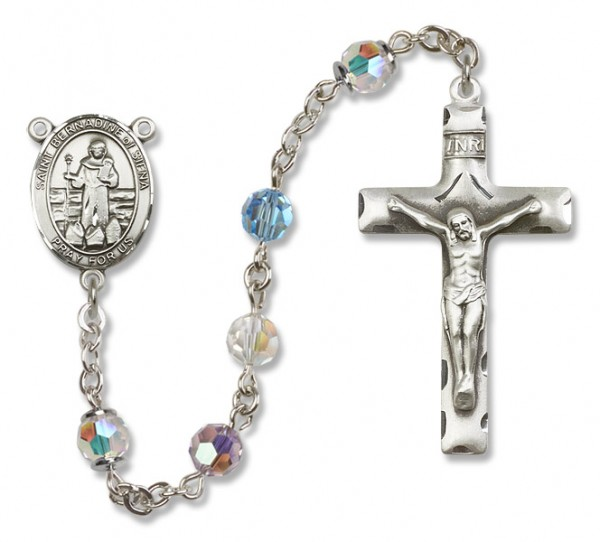 St. Bernadine Sterling Silver Heirloom Rosary Squared Crucifix - Multi-Color