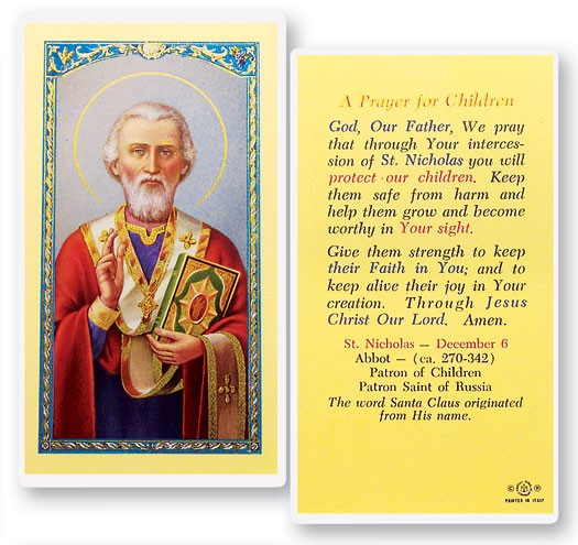 St. Nicholas Prayer For Child Laminated Prayer Cards 25 Pack - Full Color