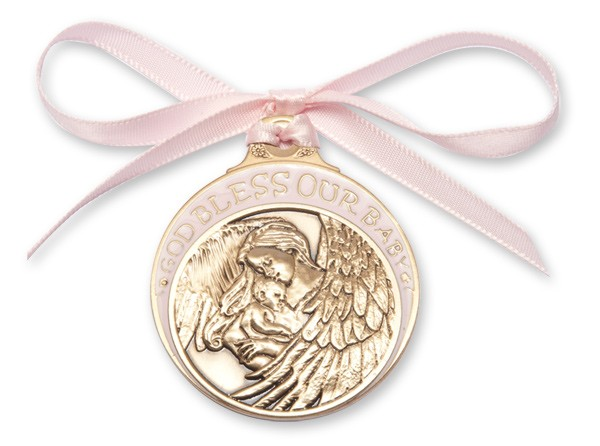 Girl's Pink Ribbon Guardian Angel Crib Medal in Brass - Pink | Gold