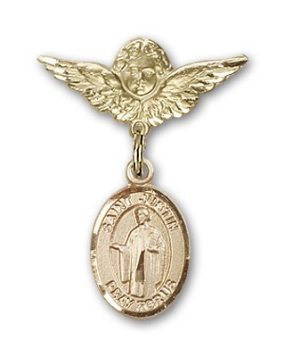 Pin Badge with St. Justin Charm and Angel with Smaller Wings Badge Pin - 14K Solid Gold