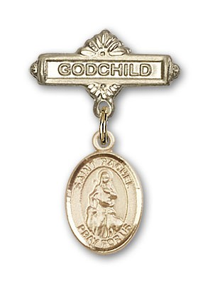 Pin Badge with St. Rachel Charm and Godchild Badge Pin - Gold Tone