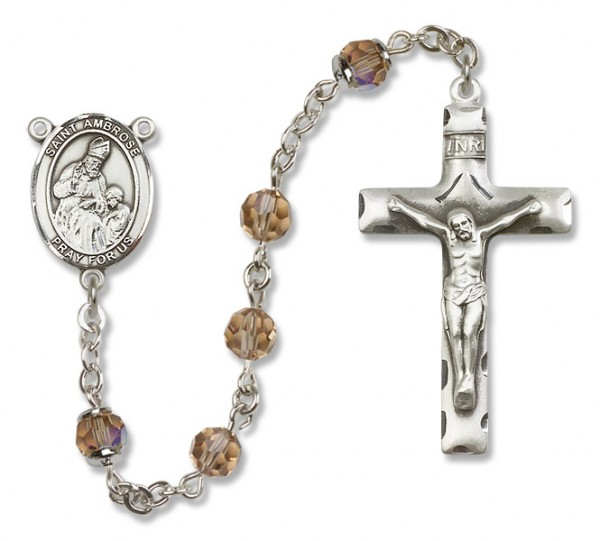St. Ambrose Sterling Silver Heirloom Rosary Squared Crucifix - Topaz
