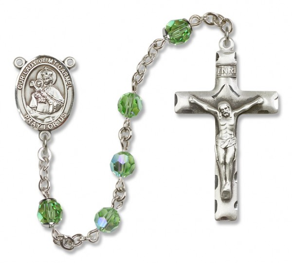 Our Lady of Mount Carmel Rosary Heirloom Squared Crucifix - Peridot