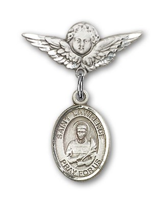 Pin Badge with St. Lawrence Charm and Angel with Smaller Wings Badge Pin - Silver tone