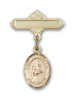 Pin Badge with St. Bernadette Charm and Polished Engravable Badge Pin - 14K Yellow Gold
