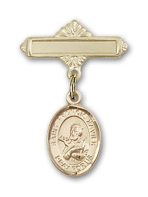Pin Badge with St. Francis Xavier Charm and Polished Engravable Badge Pin - Gold Tone