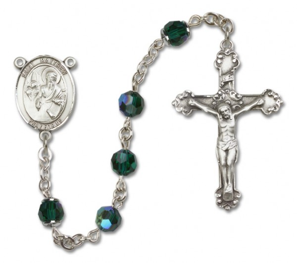 St. Matthew the Apostle Sterling Silver Heirloom Rosary Fancy Crucifix - Emerald Green