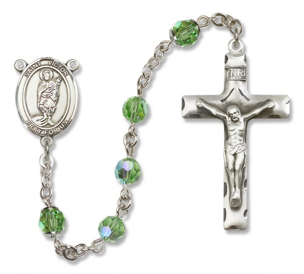 St. Victor of Marseilles Sterling Silver Heirloom Rosary Squared Crucifix - Peridot