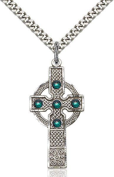 Tall Celtic Cross Pendant with Birthstone Options - Sterling Silver