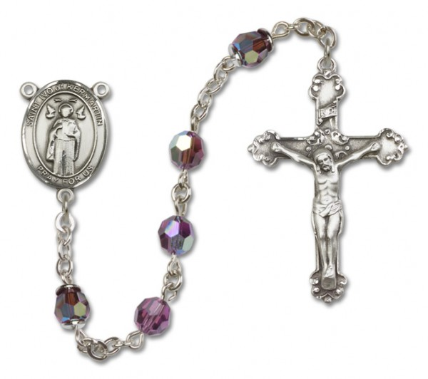 St. Ivo Sterling Silver Heirloom Rosary Fancy Crucifix - Amethyst