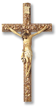 Hand Painted Tomaso Ornate Crucifix - 13 inch - Brown