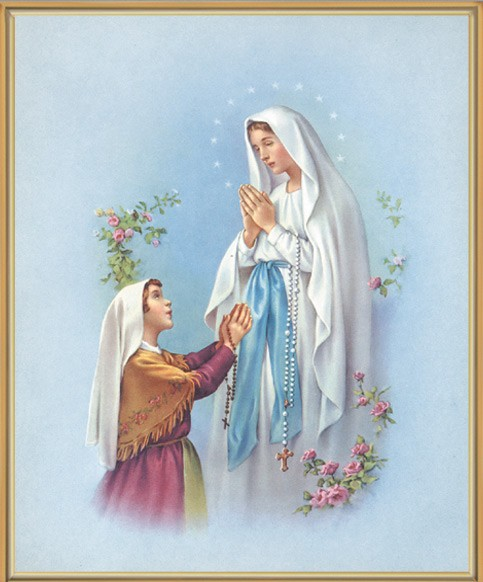 Our Lady of Lourdes Gold Framed Print - Full Color