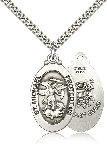 Men's St. Michael Coast Guard Medal - Sterling Silver