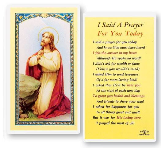 I Said A Prayer For You Today Laminated Prayer Cards 25 Pack - Full Color