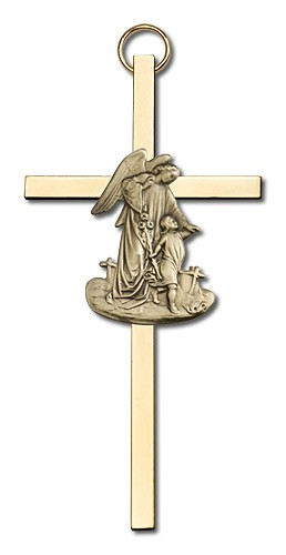 "Guardian Angel 4"" Wall Cross - Gold Tone"