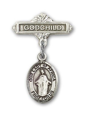Baby Badge with Our Lady of Africa Charm and Godchild Badge Pin - Silver tone