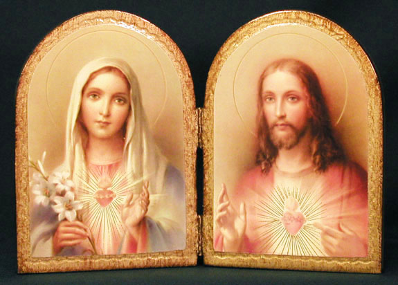 "Immaculate Heart of Mary & Sacred Heart of Jesus Florentine Diptych 9 1/2"" - Gold"
