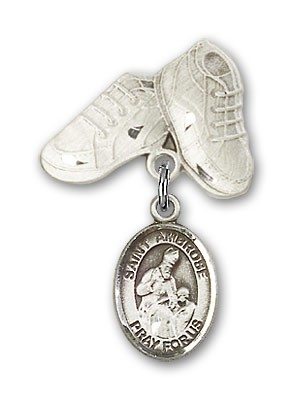 Pin Badge with St. Ambrose Charm and Baby Boots Pin - Silver tone