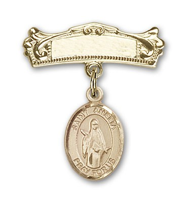 Pin Badge with St. Amelia Charm and Arched Polished Engravable Badge Pin - Gold Tone