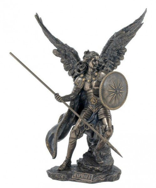 St. Raphael Bronzed Resin Statue - 13.5 Inches - Bronze