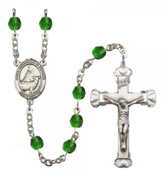 Women's St. Catherine of Sweden Birthstone Rosary - Emerald Green