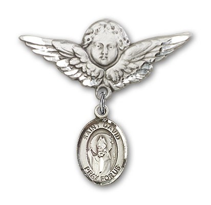 Pin Badge with St. David of Wales Charm and Angel with Larger Wings Badge Pin - Silver tone