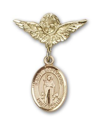 Pin Badge with St. Barnabas Charm and Angel with Smaller Wings Badge Pin - 14K Yellow Gold