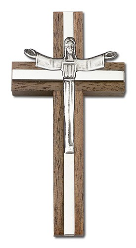 "Contemporary Risen Christ Wall Cross in Walnut and Metal Inlay 4"" - Silver tone"