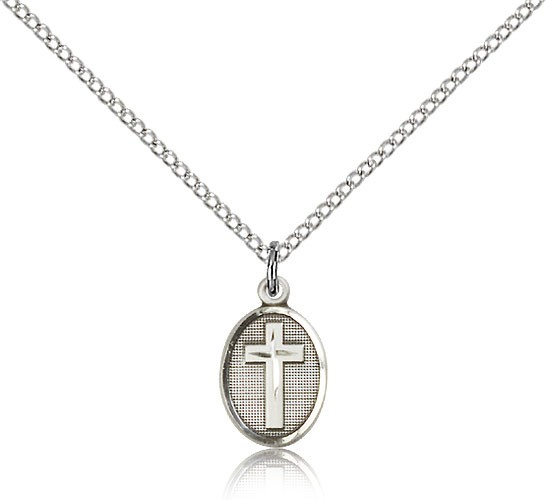 Oval Pendant with Cross Center Necklace - Sterling Silver