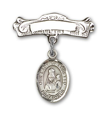 Pin Badge with Our Lady of Loretto Charm and Arched Polished Engravable Badge Pin - Silver tone