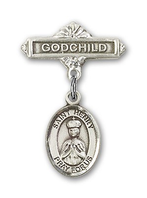 Pin Badge with St. Henry II Charm and Godchild Badge Pin - Silver tone