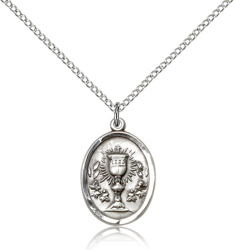 Oval First Communion Medal with Chalice - Sterling Silver