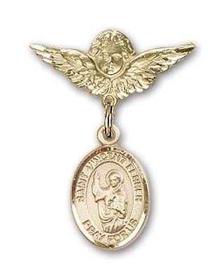 Pin Badge with St. Vincent Ferrer Charm and Angel with Smaller Wings Badge Pin - 14K Solid Gold