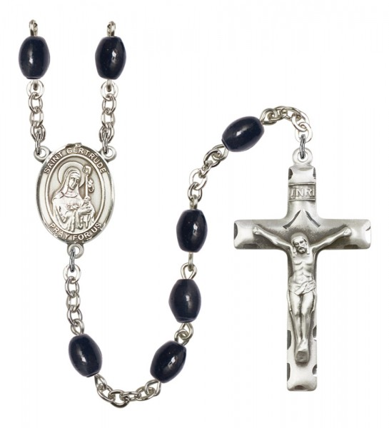 Men's St. Gertrude of Nivelles Silver Plated Rosary - Black Oval