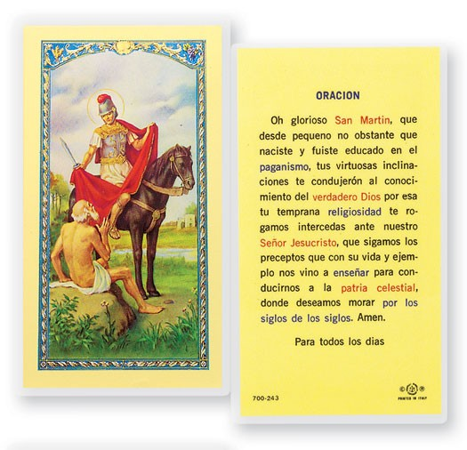 Intercedas A San Martin Caballero Laminated Spanish Prayer Cards 25 Pack - Full Color
